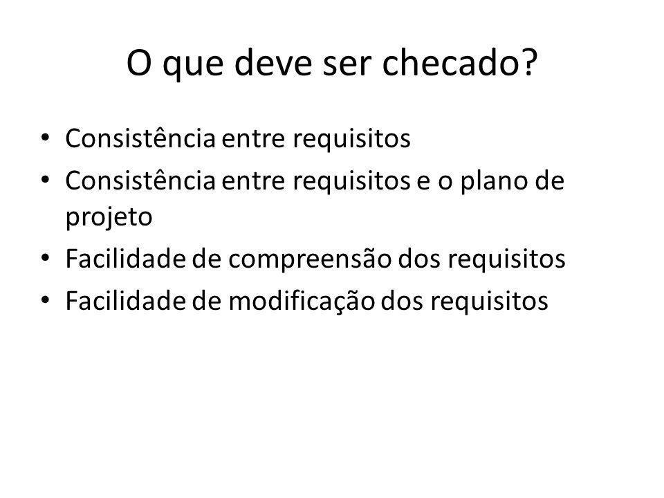 O que deve ser checado? • Consistência entre requisitos • Consistência entre requisitos e o plano de projeto • Facilidade de compreensão dos requisito