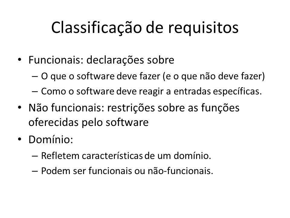 Classificação de requisitos • Funcionais: declarações sobre – O que o software deve fazer (e o que não deve fazer) – Como o software deve reagir a ent