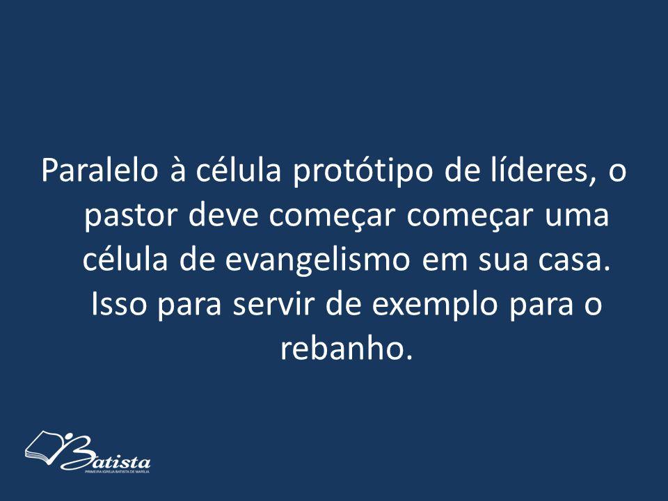 Paralelo à célula protótipo de líderes, o pastor deve começar começar uma célula de evangelismo em sua casa. Isso para servir de exemplo para o rebanh