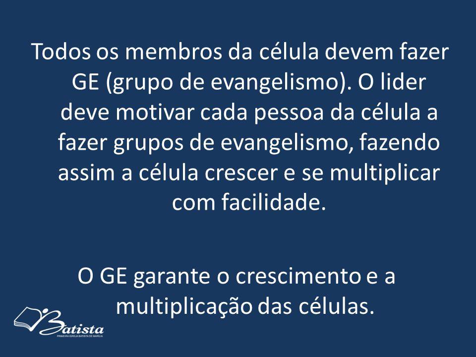 Todos os membros da célula devem fazer GE (grupo de evangelismo). O lider deve motivar cada pessoa da célula a fazer grupos de evangelismo, fazendo as