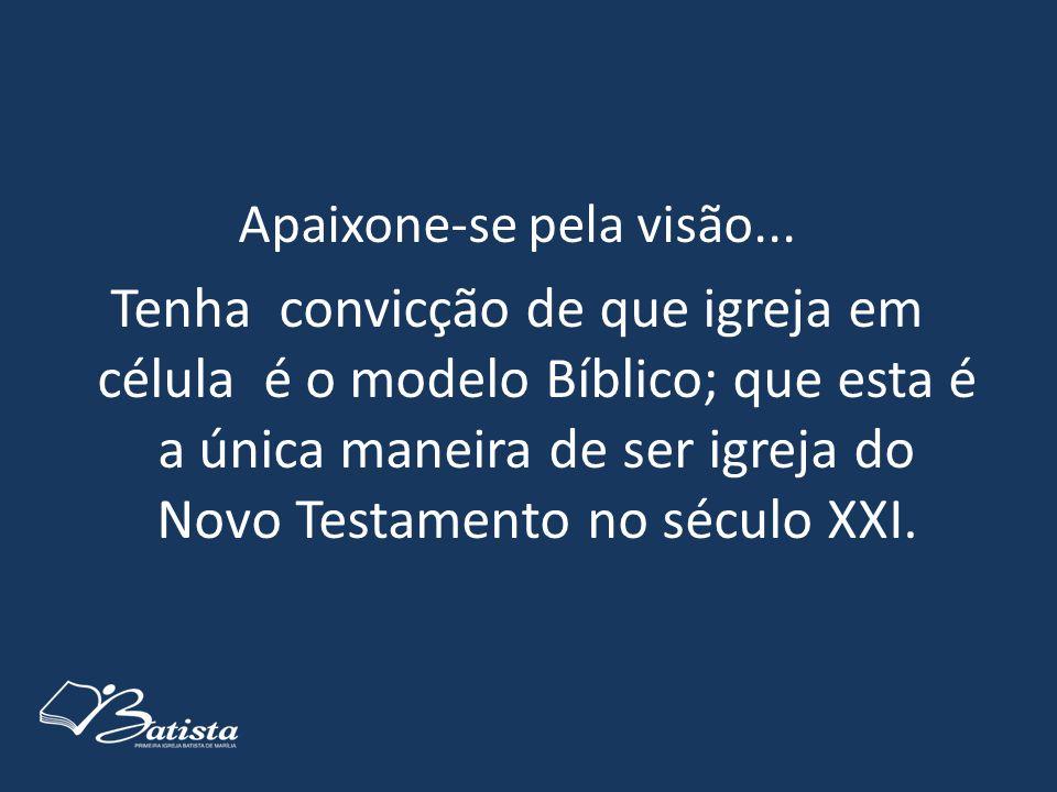 Apaixone-se pela visão... Tenha convicção de que igreja em célula é o modelo Bíblico; que esta é a única maneira de ser igreja do Novo Testamento no s