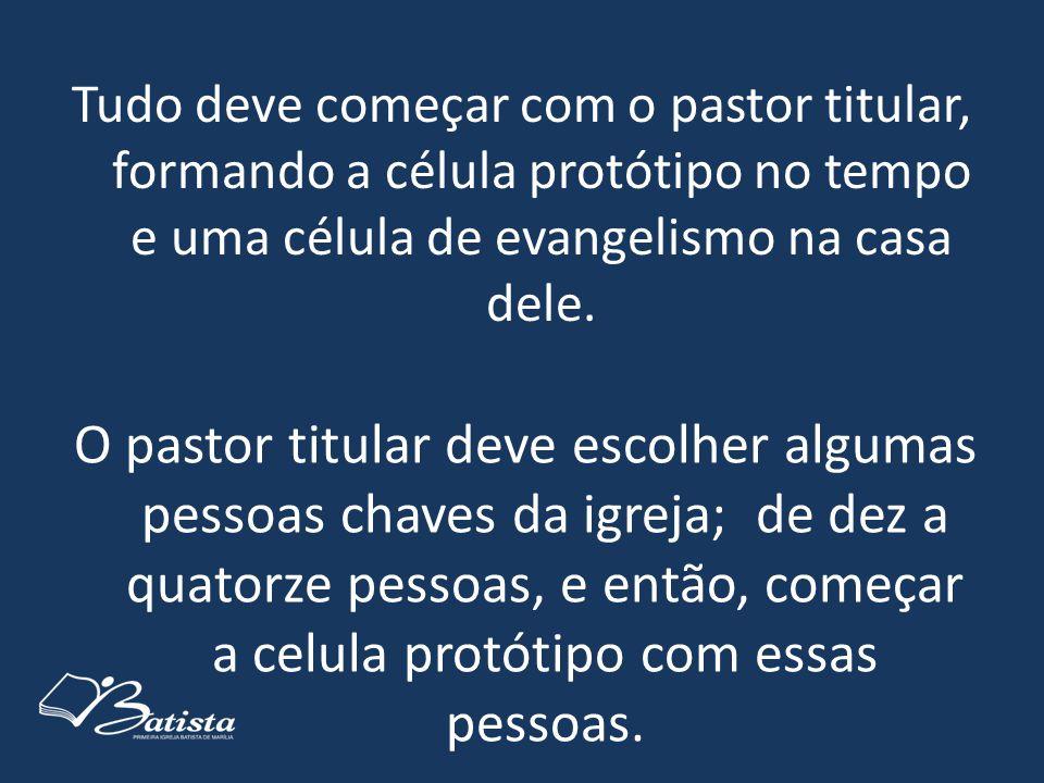 Tudo deve começar com o pastor titular, formando a célula protótipo no tempo e uma célula de evangelismo na casa dele. O pastor titular deve escolher