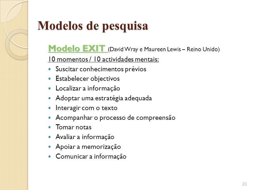 Modelo EXIT Modelo EXIT Modelo EXIT Modelo EXIT (David Wray e Maureen Lewis – Reino Unido) 10 momentos / 10 actividades mentais:  Suscitar conhecimen