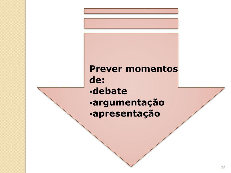 Prever momentos de:  debate  argumentação  apresentação 25