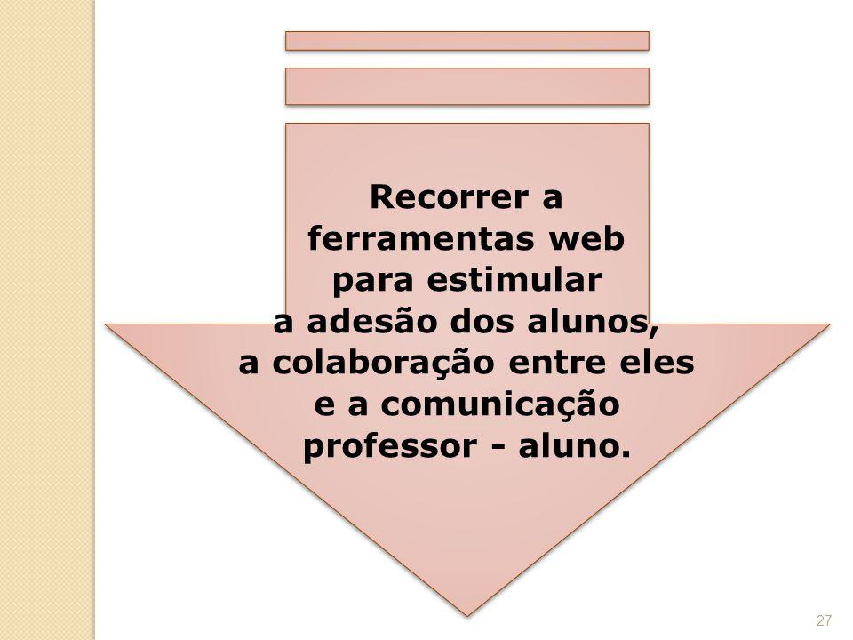 Recorrer a ferramentas web para estimular a adesão dos alunos, a colaboração entre eles e a comunicação professor - aluno. 27