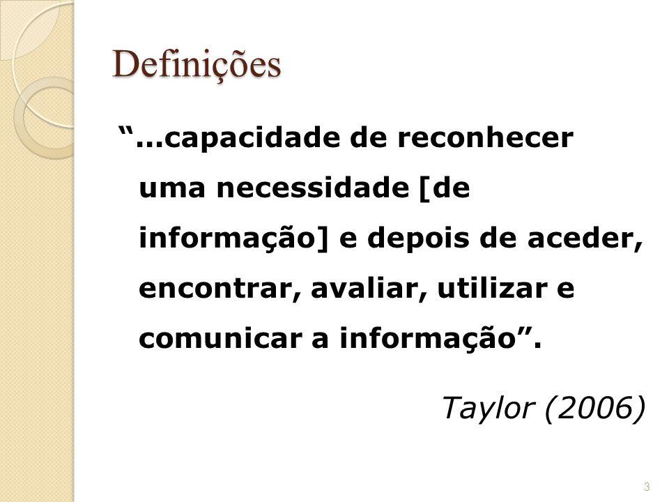 """Definições """"...capacidade de reconhecer uma necessidade [de informação] e depois de aceder, encontrar, avaliar, utilizar e comunicar a informação"""". Ta"""