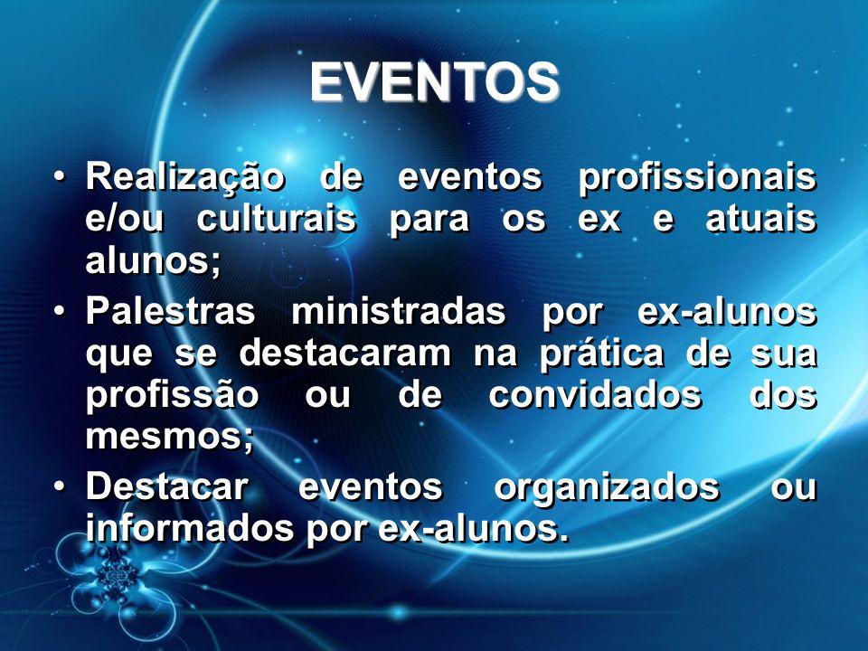 EVENTOS •Realização de eventos profissionais e/ou culturais para os ex e atuais alunos; •Palestras ministradas por ex-alunos que se destacaram na prát