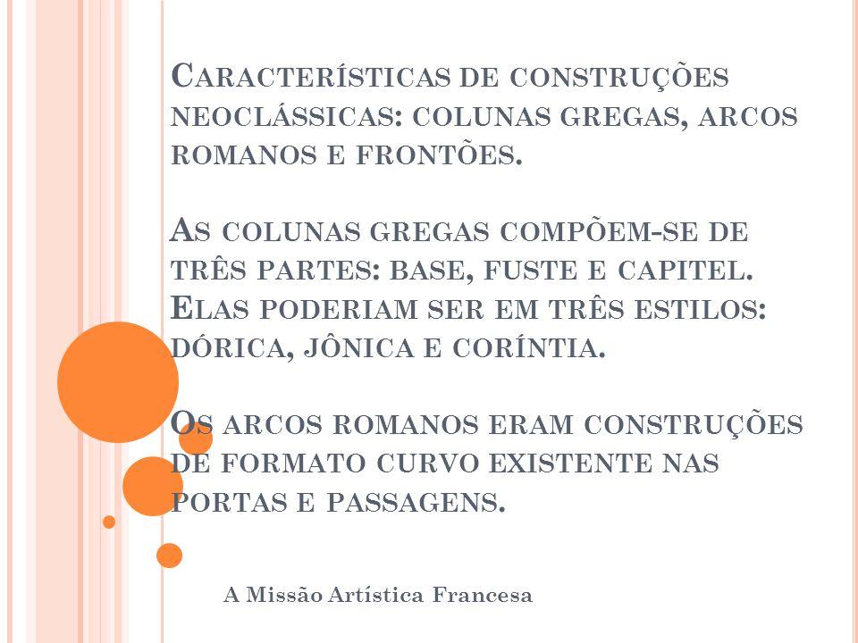 C ARACTERÍSTICAS DE CONSTRUÇÕES NEOCLÁSSICAS : COLUNAS GREGAS, ARCOS ROMANOS E FRONTÕES. A S COLUNAS GREGAS COMPÕEM - SE DE TRÊS PARTES : BASE, FUSTE