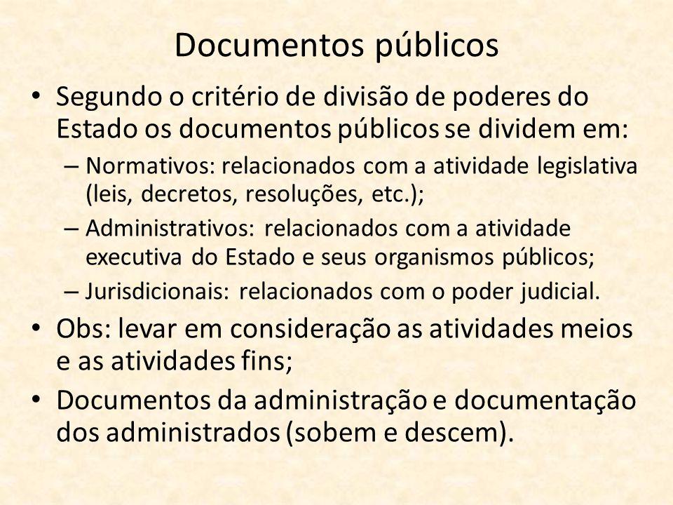 Documentos públicos • Segundo o critério de divisão de poderes do Estado os documentos públicos se dividem em: – Normativos: relacionados com a ativid