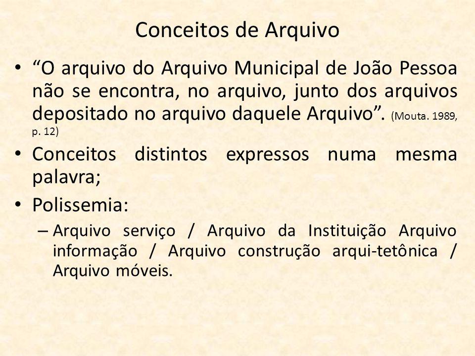 """Conceitos de Arquivo • """"O arquivo do Arquivo Municipal de João Pessoa não se encontra, no arquivo, junto dos arquivos depositado no arquivo daquele Ar"""