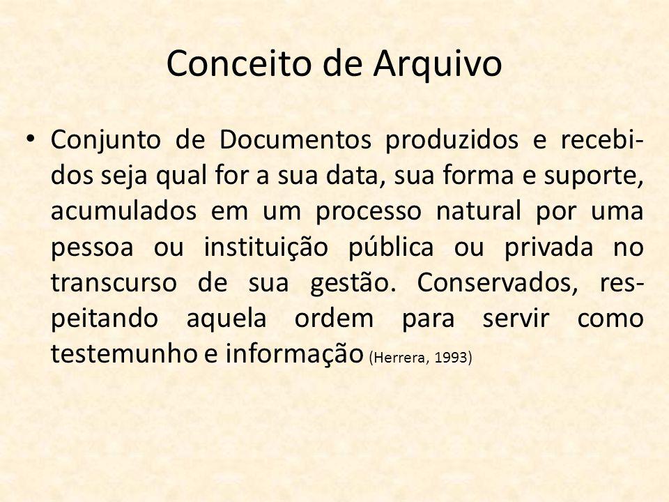 Conceito de Arquivo • Conjunto de Documentos produzidos e recebi- dos seja qual for a sua data, sua forma e suporte, acumulados em um processo natural