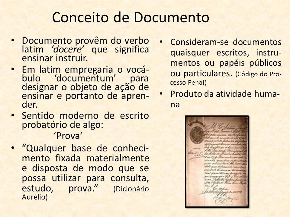 Conceito de Documento • Documento provêm do verbo latim 'docere' que significa ensinar instruir. • Em latim empregaria o vocá- bulo 'documentum' para