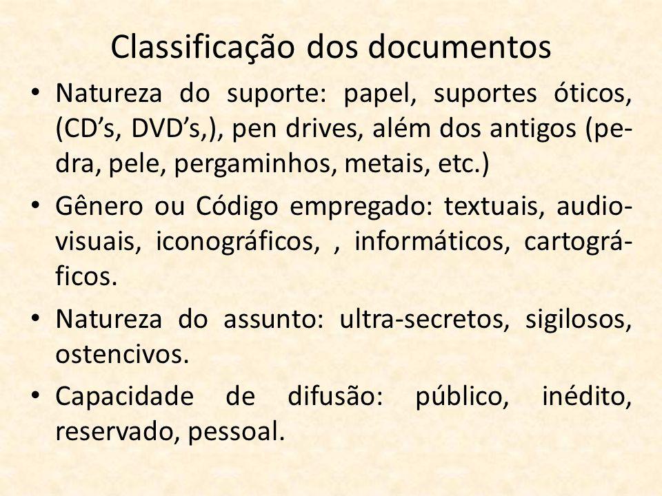 Classificação dos documentos • Natureza do suporte: papel, suportes óticos, (CD's, DVD's,), pen drives, além dos antigos (pe- dra, pele, pergaminhos,