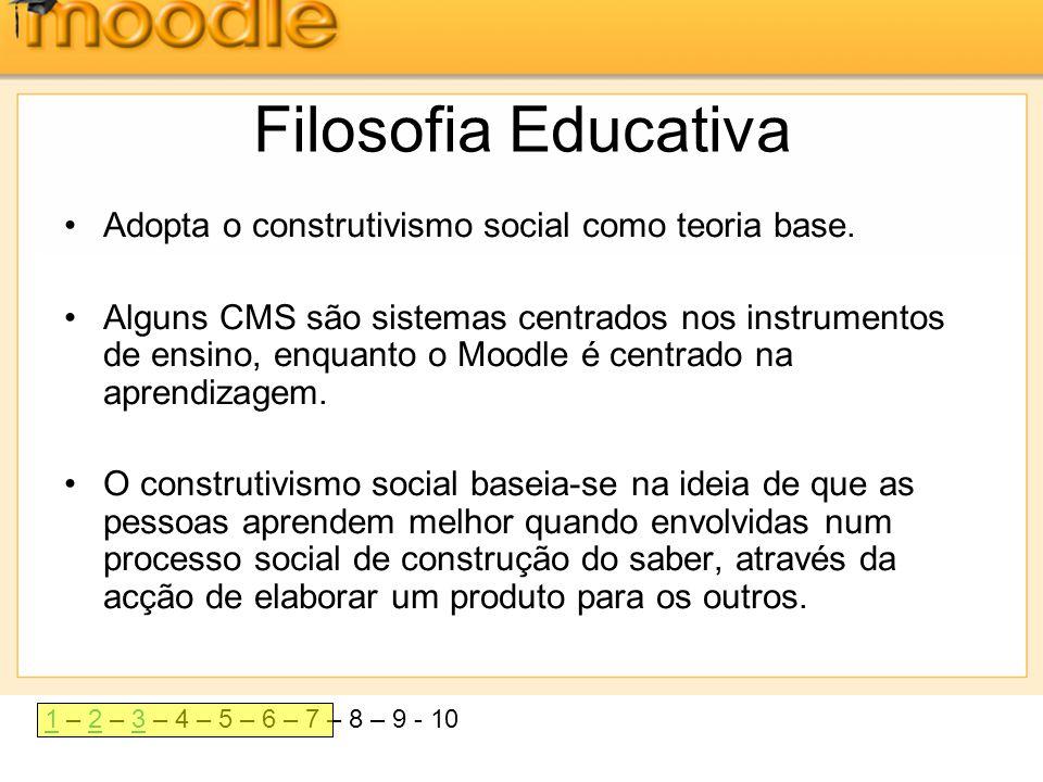11 – 2 – 3 – 4 – 5 – 6 – 7 – 8 – 9 - 1023 Filosofia Educativa •Adopta o construtivismo social como teoria base. •Alguns CMS são sistemas centrados nos
