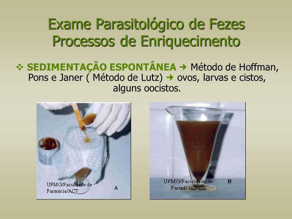  SEDIMENTAÇÃO ESPONTÂNEA Método de Hoffman, Pons e Janer ( Método de Lutz) ovos, larvas e cistos, alguns oocistos. Exame Parasitológico de Fezes Proc