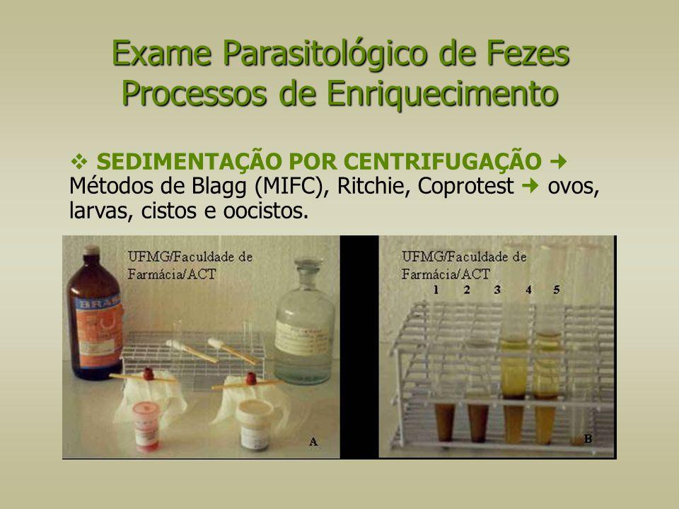  SEDIMENTAÇÃO POR CENTRIFUGAÇÃO Métodos de Blagg (MIFC), Ritchie, Coprotest ovos, larvas, cistos e oocistos. Exame Parasitológico de Fezes Processos