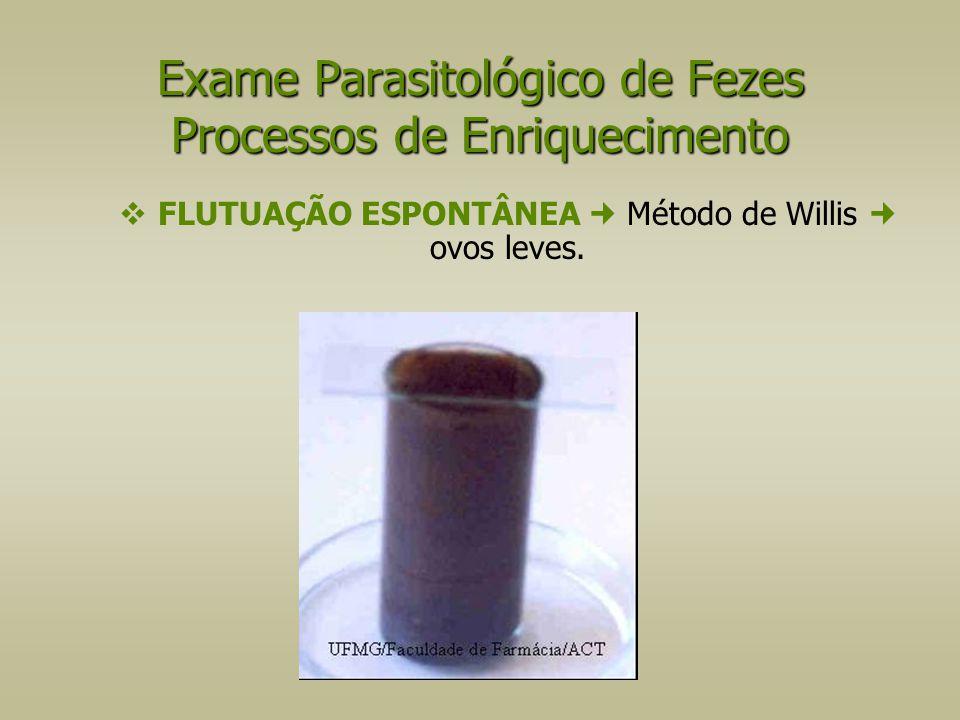  FLUTUAÇÃO ESPONTÂNEA Método de Willis ovos leves. Exame Parasitológico de Fezes Processos de Enriquecimento