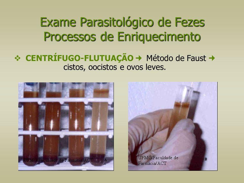  CENTRÍFUGO-FLUTUAÇÃO Método de Faust cistos, oocistos e ovos leves. Exame Parasitológico de Fezes Processos de Enriquecimento