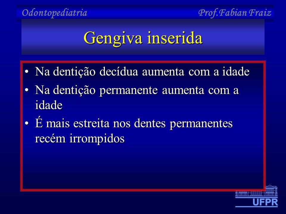 Odontopediatria Prof.Fabian Fraiz Gengiva inserida •Na dentição decídua aumenta com a idade •Na dentição permanente aumenta com a idade •É mais estrei