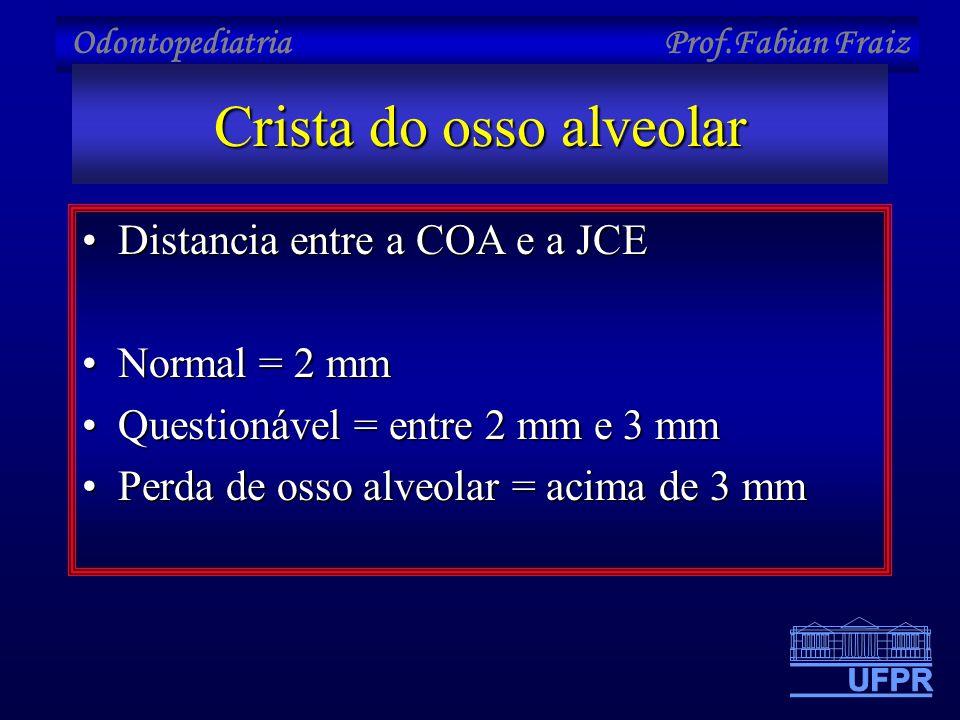 Odontopediatria Prof.Fabian Fraiz Crista do osso alveolar •Distancia entre a COA e a JCE •Normal = 2 mm •Questionável = entre 2 mm e 3 mm •Perda de os