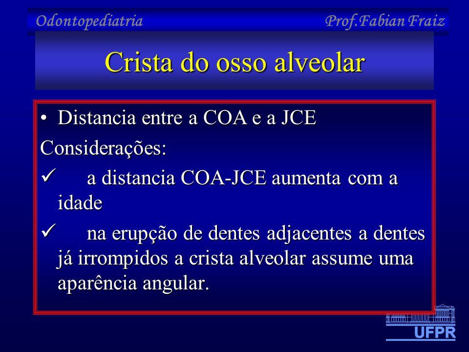 Odontopediatria Prof.Fabian Fraiz Crista do osso alveolar •Distancia entre a COA e a JCE Considerações:  a distancia COA-JCE aumenta com a idade  na