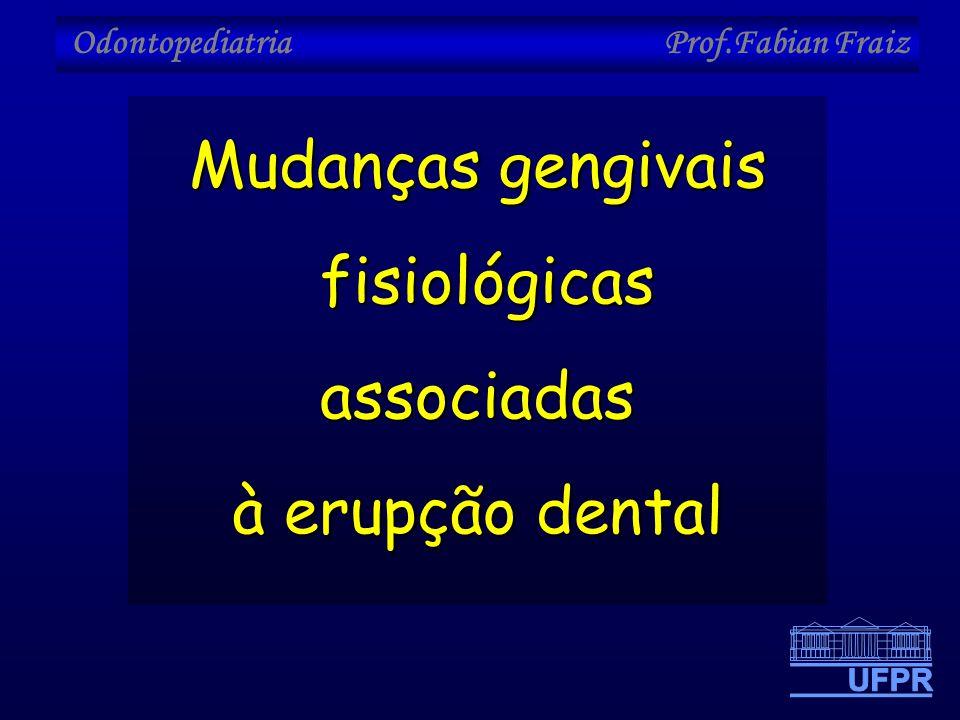 Odontopediatria Prof.Fabian Fraiz Mudanças gengivais fisiológicas associadas fisiológicas associadas à erupção dental