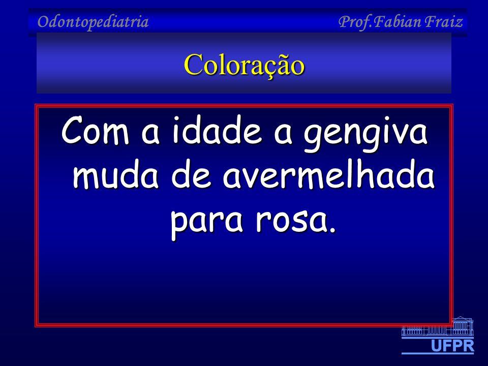 Odontopediatria Prof.Fabian FraizColoração Com a idade a gengiva muda de avermelhada para rosa.