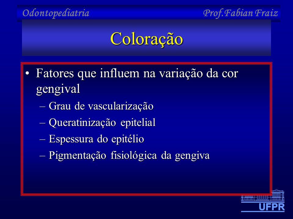 Odontopediatria Prof.Fabian FraizColoração •Fatores que influem na variação da cor gengival –Grau de vascularização –Queratinização epitelial –Espessu