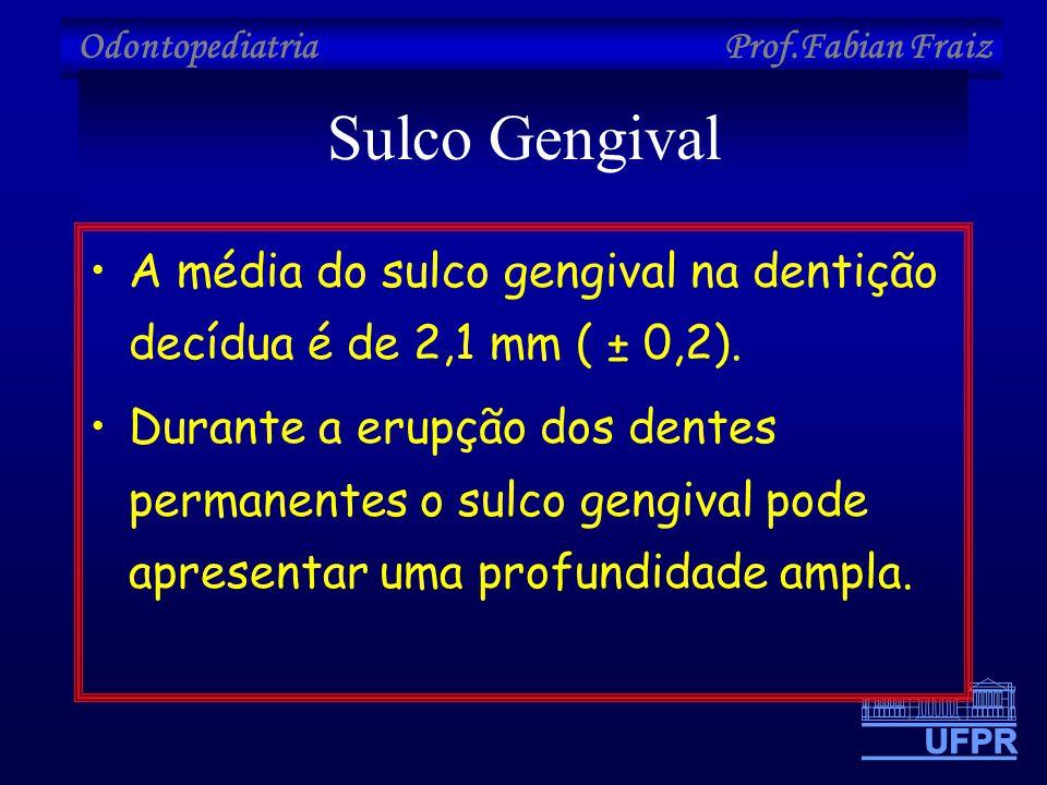 Odontopediatria Prof.Fabian Fraiz Sulco Gengival •A média do sulco gengival na dentição decídua é de 2,1 mm ( ± 0,2). •Durante a erupção dos dentes pe