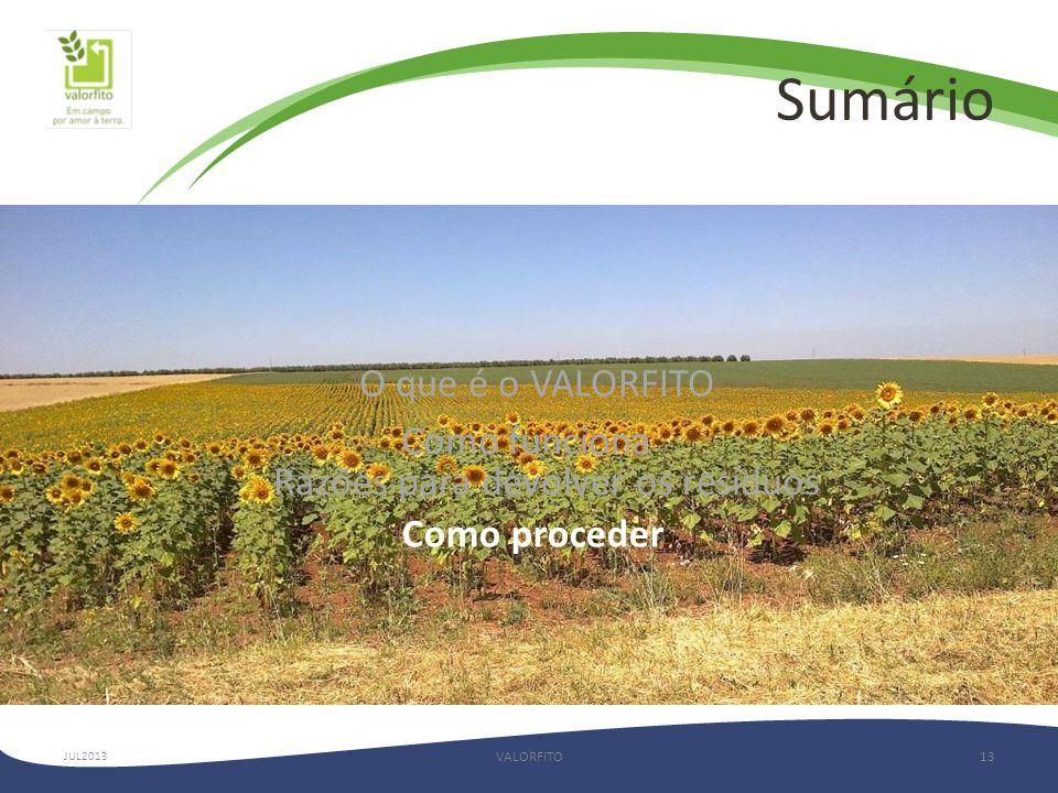 Sumário VALORFITO13 O que é o VALORFITO Como funciona Razões para devolver os resíduos Como proceder JUL2013
