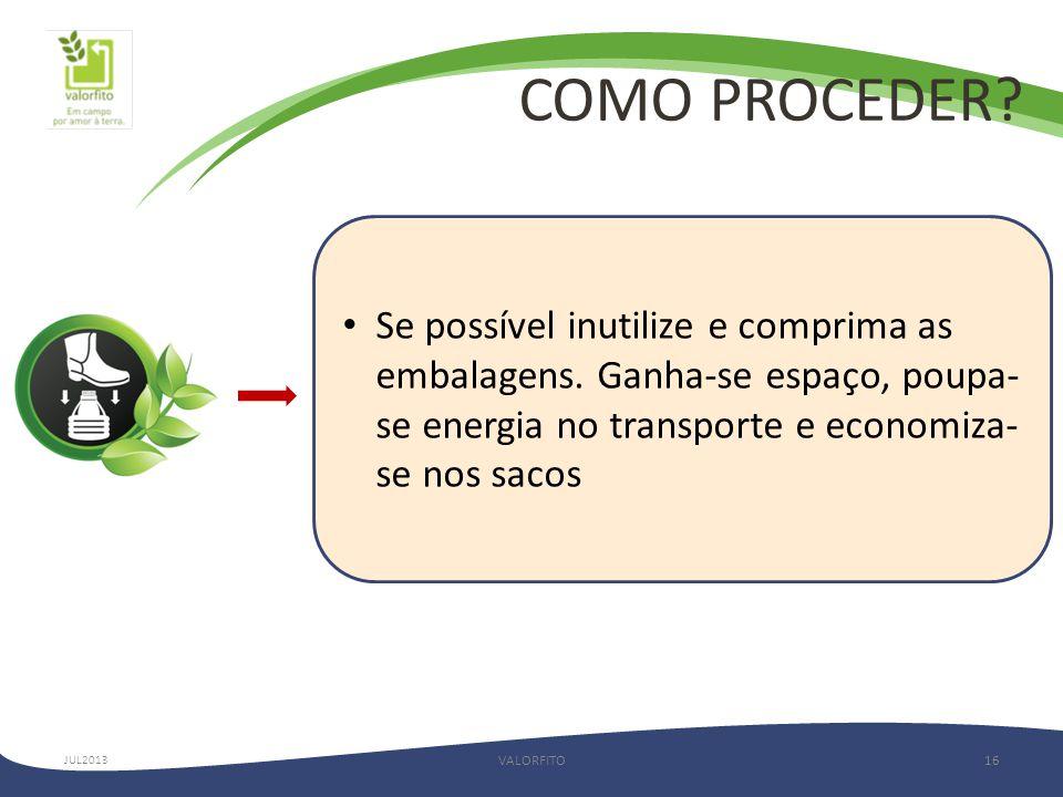 COMO PROCEDER.VALORFITO16 JUL2013 • Se possível inutilize e comprima as embalagens.