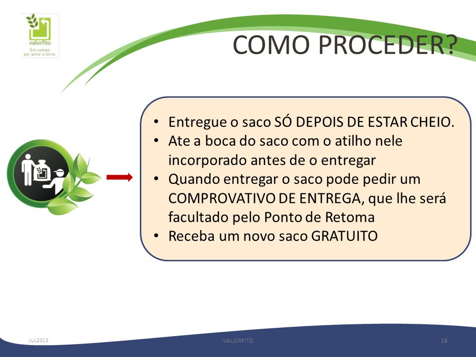 COMO PROCEDER.VALORFITO18 JUL2013 • Entregue o saco SÓ DEPOIS DE ESTAR CHEIO.