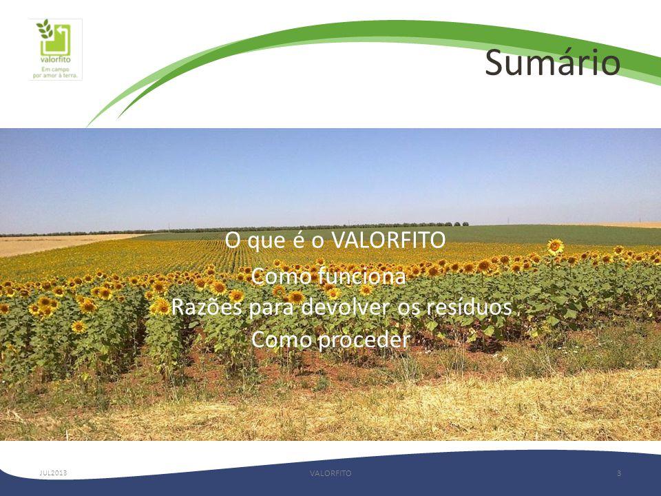 Sumário VALORFITO3 O que é o VALORFITO Como funciona Razões para devolver os resíduos Como proceder JUL2013