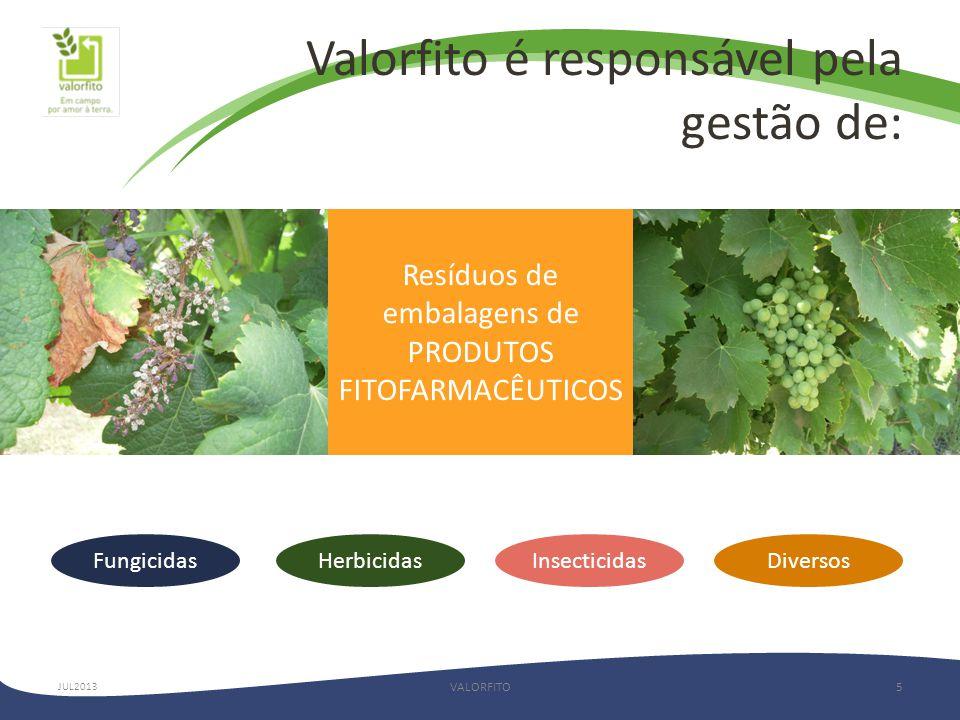 Valorfito é responsável pela gestão de: VALORFITO5 Resíduos de embalagens de PRODUTOS FITOFARMACÊUTICOS FungicidasHerbicidasInsecticidas JUL2013 Diversos