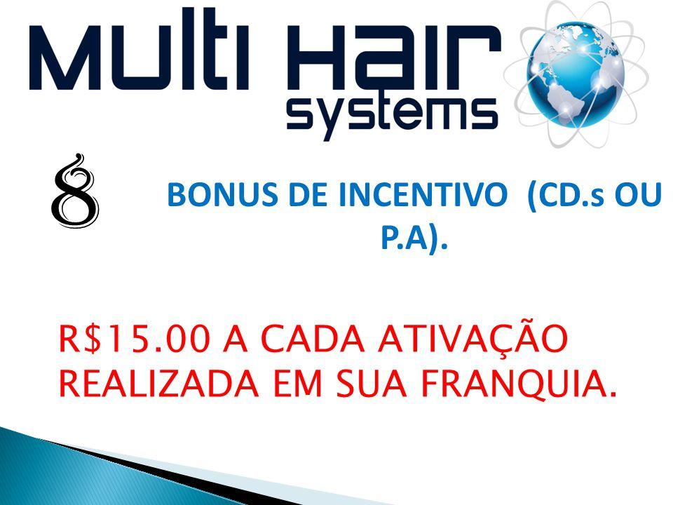  10 8 BONUS DE INCENTIVO (CD.s OU P.A). R$15.00 A CADA ATIVAÇÃO REALIZADA EM SUA FRANQUIA.