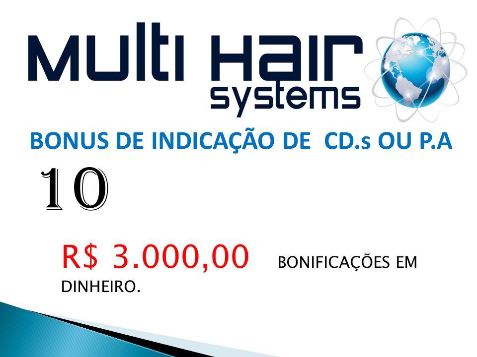  9 10 BONUS DE INDICAÇÃO DE CD.s OU P.A R$ 3.000,00 BONIFICAÇÕES EM DINHEIRO.