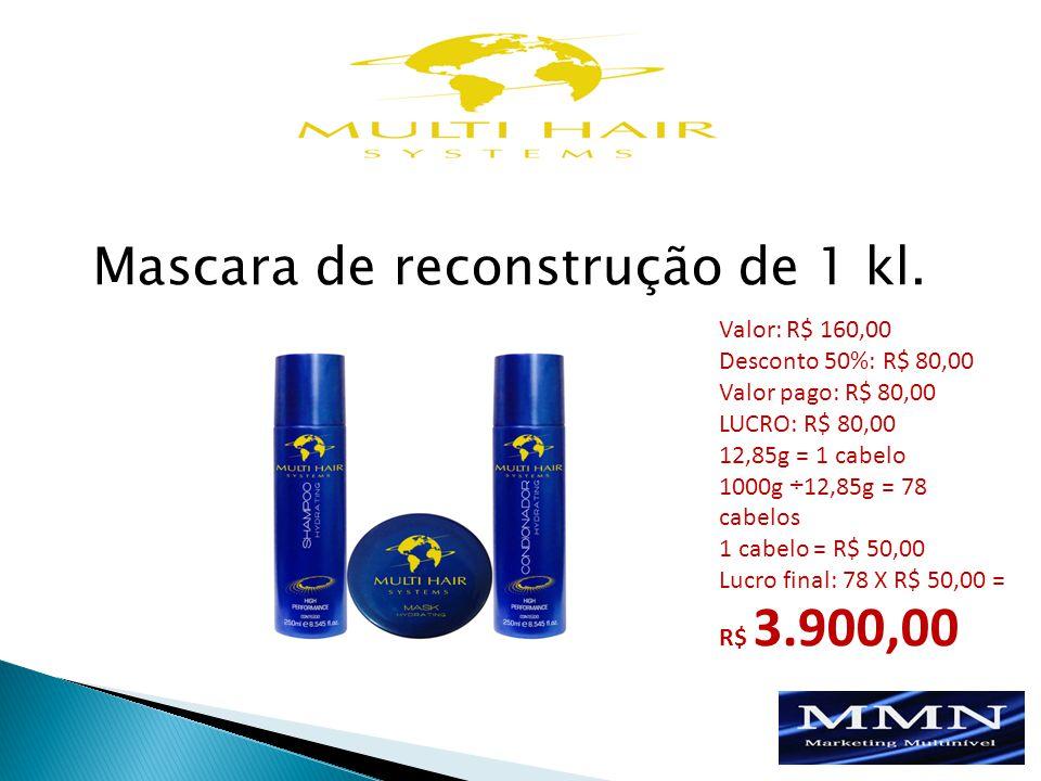 Valor: R$ 160,00 Desconto 50%: R$ 80,00 Valor pago: R$ 80,00 LUCRO: R$ 80,00 12,85g = 1 cabelo 1000g ÷12,85g = 78 cabelos 1 cabelo = R$ 50,00 Lucro final: 78 X R$ 50,00 = R$ 3.900,00 Mascara de reconstrução de 1 kl.