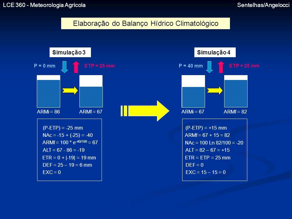 LCE 360 - Meteorologia Agrícola Sentelhas/Angelocci Simulação 3 P = 0 mmETP = 25 mm ARMi = 86ARMf = 67 Simulação 4 P = 40 mmETP = 25 mm ARMi = 67ARMf