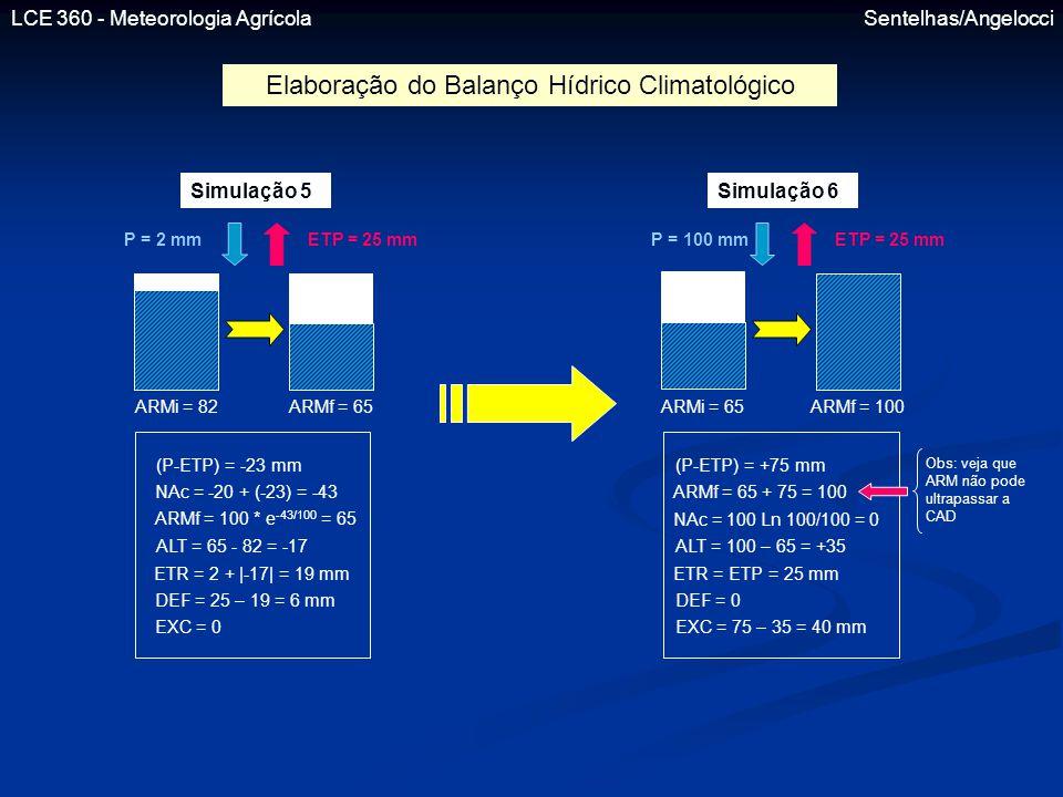 LCE 360 - Meteorologia Agrícola Sentelhas/Angelocci Simulação 5 P = 2 mmETP = 25 mm ARMi = 82ARMf = 65 Simulação 6 P = 100 mmETP = 25 mm ARMi = 65ARMf