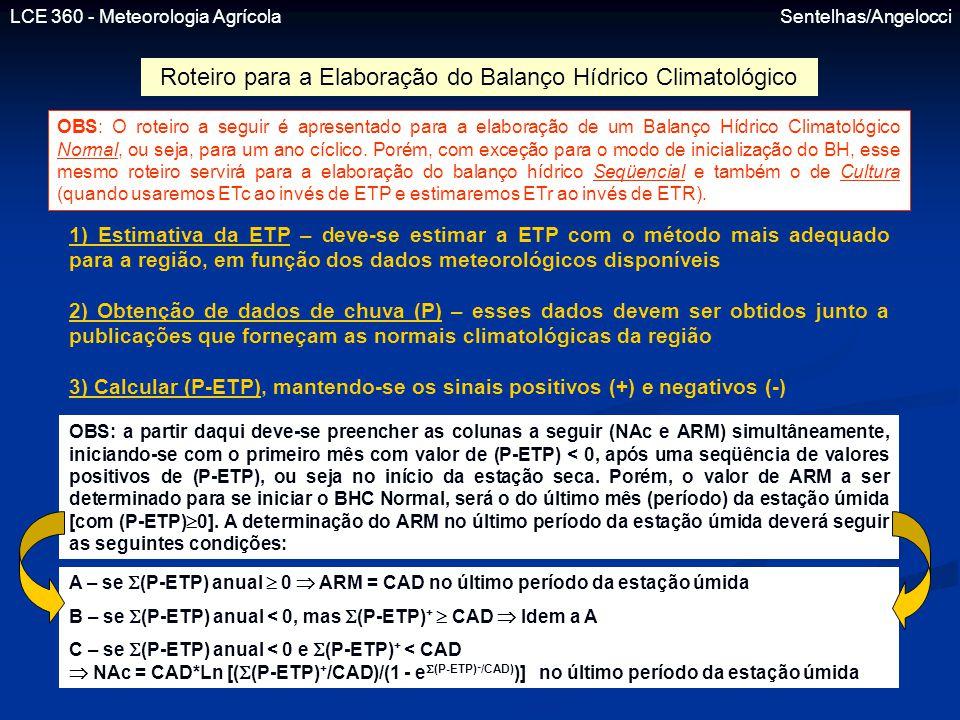 LCE 360 - Meteorologia Agrícola Sentelhas/Angelocci Roteiro para a Elaboração do Balanço Hídrico Climatológico OBS: O roteiro a seguir é apresentado p