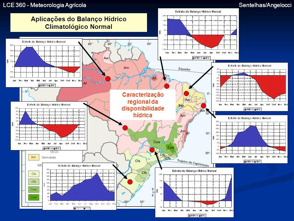 LCE 360 - Meteorologia Agrícola Sentelhas/Angelocci Aplicações do Balanço Hídrico Climatológico Normal Caracterização regional da disponibilidade hídr