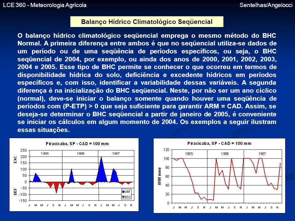LCE 360 - Meteorologia Agrícola Sentelhas/Angelocci Balanço Hídrico Climatológico Seqüencial O balanço hídrico climatológico seqüencial emprega o mesm