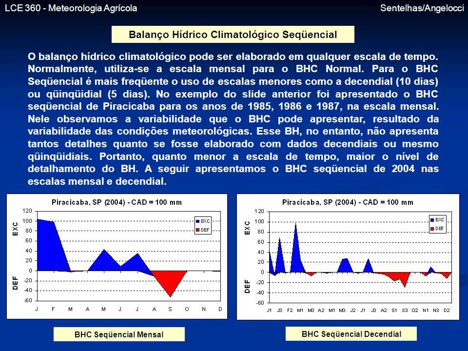 LCE 360 - Meteorologia Agrícola Sentelhas/Angelocci Balanço Hídrico Climatológico Seqüencial O balanço hídrico climatológico pode ser elaborado em qua