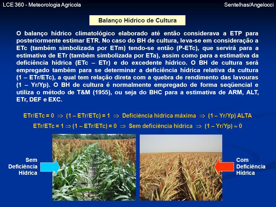 LCE 360 - Meteorologia Agrícola Sentelhas/Angelocci Balanço Hídrico de Cultura O balanço hídrico climatológico elaborado até então considerava a ETP p