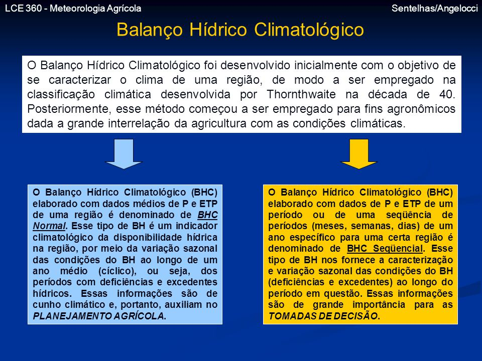 LCE 360 - Meteorologia Agrícola Sentelhas/Angelocci Balanço Hídrico Climatológico O Balanço Hídrico Climatológico foi desenvolvido inicialmente com o