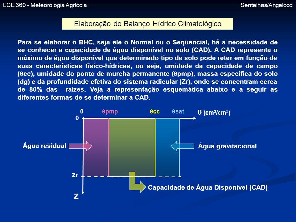 LCE 360 - Meteorologia Agrícola Sentelhas/Angelocci Elaboração do Balanço Hídrico Climatológico Para se elaborar o BHC, seja ele o Normal ou o Seqüenc