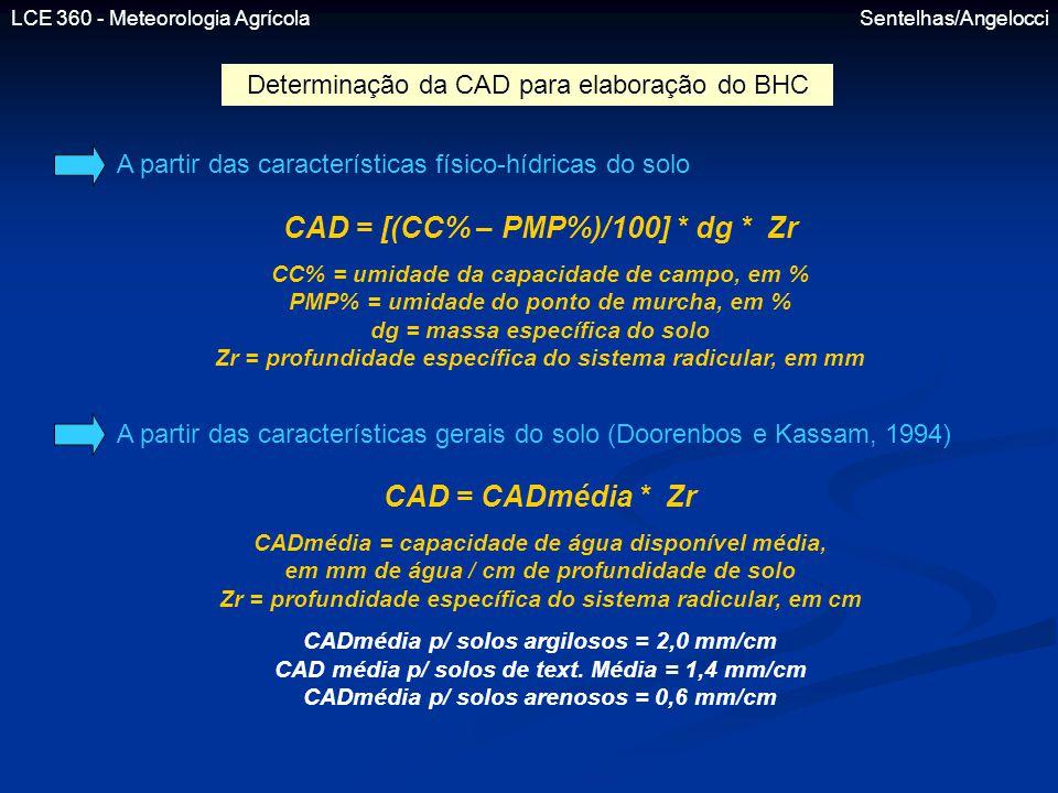 LCE 360 - Meteorologia Agrícola Sentelhas/Angelocci Determinação da CAD para elaboração do BHC A partir das características físico-hídricas do solo CA