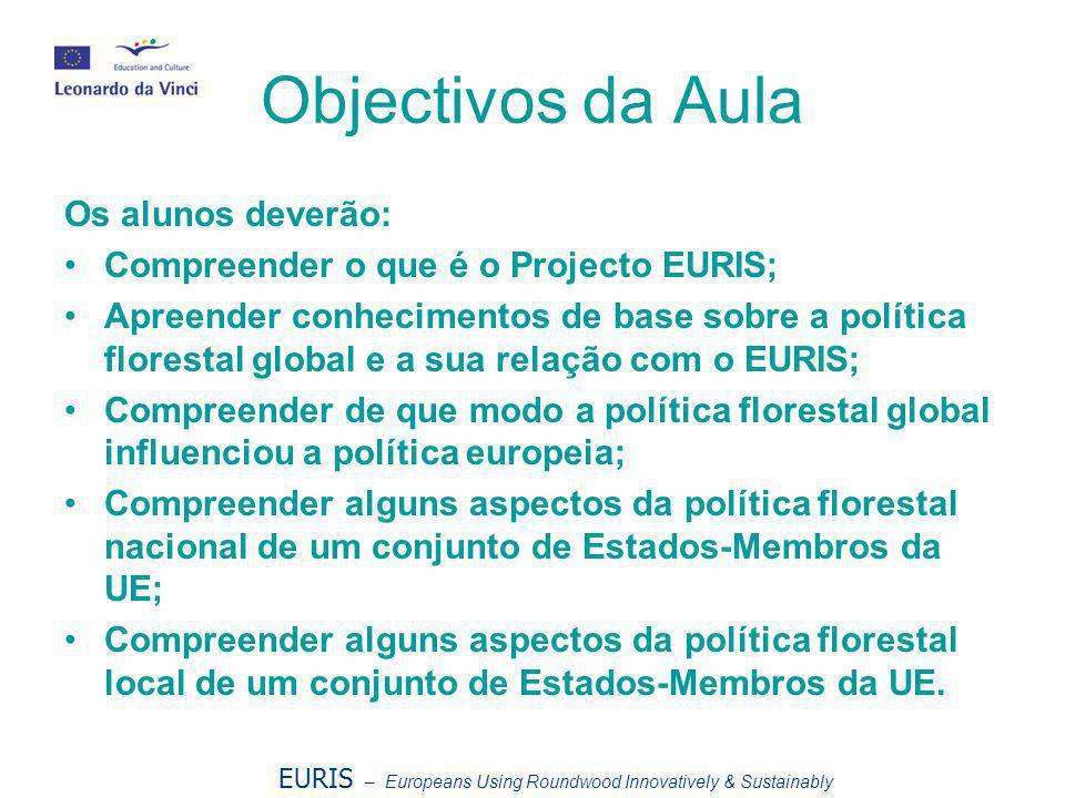 Objectivos da Aula Os alunos deverão: •Compreender o que é o Projecto EURIS; •Apreender conhecimentos de base sobre a política florestal global e a su