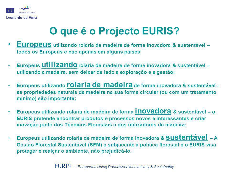 O que é o Projecto EURIS? •Europeus utilizando rolaria de madeira de forma inovadora & sustentável – todos os Europeus e não apenas em alguns países;
