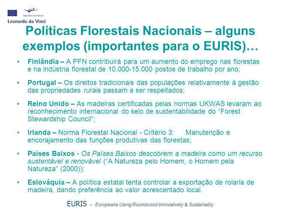 EURIS – Europeans Using Roundwood Innovatively & Sustainably Políticas Florestais Nacionais – alguns exemplos (importantes para o EURIS)… •Finlândia –